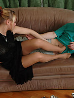 Sizzling hot chick in suntan pantyhose giving frenzied footjob till cumshot