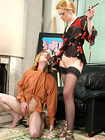 Lusty gal with strap-on giving her guy a trampling and ass-cramming lesson
