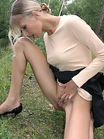 Dirty whore agrees to lift up her skirt and show naked nub