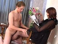 Filthy chick treating pantyhosed guy like her sex toy for nasty nylon games