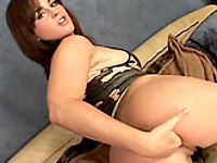 Nasty redhead in boots bending over to have her ass hole drilled