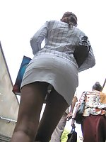 Killer pics with hot upskirt view uncovering green panties