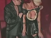 Mature dude humiliate girl in latex