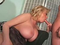 Gigantic tits chubby babe sucking deep black pole
