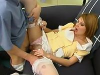 Sexy French maid in white stockings flashing her pussy before real fucking