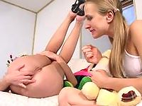 Cute lesbian babes savoring every minute of frantic strap-on ass-fucking
