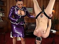 Dana DeArmond is dressed in latex bound and fucked with machine