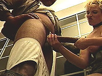 Tight blonde loves stroking this massively large black cock