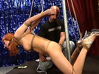As part of her initiation she gets bondage and electric orgasms.