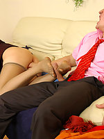 Hot female co-worker in glossy tights seducing guy while dangling her shoes