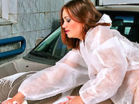 Brunette Getting Totally Nude While Washing A Car