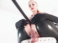 Latex sluts dildo and slap poor guy