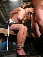 Sarah Sunn is tied down gagged and forced to take masters cock