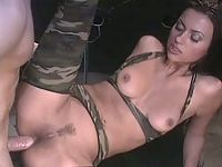Gorgeous hottie in camouflage suit gets ass reaming satisfaction