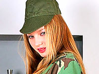 Hardbodied Blonde Slipping Out Off Her Army Uniform
