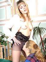 Nasty gal in soft silky pantyhose ready for everything at her job interview