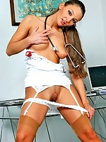 Horny brunette nurse Maria in stockings takes off her white panties