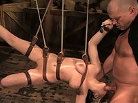 Tyla sucks cock and ass fucked in bondage