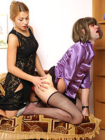 Strap-on armed chick and well-hung sissy guy in doggystyle frenzy on sofa