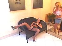 Upskirt shemale in luxury hose itching to attack sweet pussy right on couch