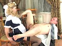 Blonde coed mastering her skills in strap-on fucking with her eager teacher
