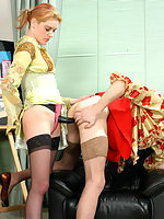 Lusty chick with strap-on fucking the shit out of horny sissy on armchair