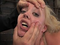 Hot blond get tied up ass fingered and force to cum. Hogtied.