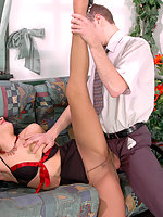 Horny mature chick in control top pantyhose getting her pussy crammed hard