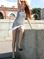 Frisky chick enjoys sunny day and cam shooting her upskirt