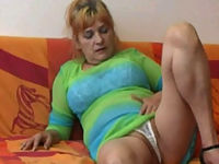 Plump blonde oldie shows her sexy white panties