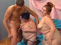 Two obese chicks and hunk have fun