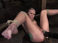 Sexy blond gets tied up hard abused DPd and forced to CUM.