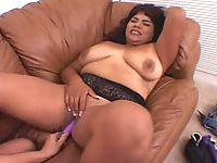 Sex starved BBW ebony slut gets dildo fucking satisfaction on the couch