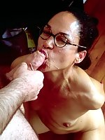 mature brunette taking on huge dick