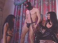 Hot whores in black latex in orgy
