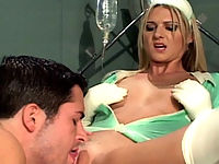 Blonde Nurse In White Latex Stockings Getting Fucked