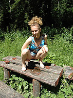 See hot teeny pissing onto her dad's picnic table