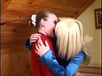 Stunning lesbian gal almost getting off from hot kisses on her yummy pussy