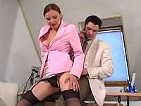 Lusty secretary in silky stockings giving legjob itching for stiff reward