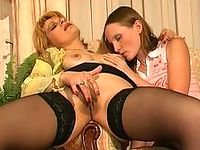 Naughty young girl caught rubbing her pink makes passes at a mature chick