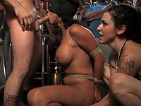 Bound beauty shocked and forced to suck strangers cock in public