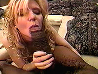 Big black cock spits a huge load on this blondes face