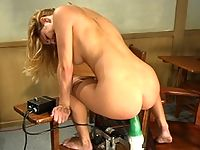 Jenni Lees ass gets red from fuckingmachine Robospanker.