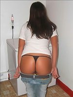 Partying chicks kneel jeans down showing off thong