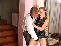 Lewd gal eagerly giving her silky hose to filthy guy after frenetic banging