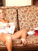 Horny blond babe getting her panty so wet