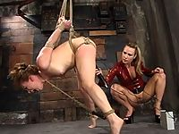 Girl is bound with steel and shocked in all her holes