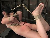 Hot young shaved amateur gets bound gagged and forced to cum!