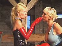 Two lesbians in striking latex wear