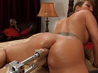 Ava Devine gets a double dick ass ramming from fast machines.